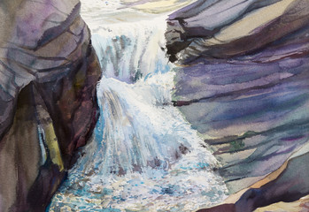 Watercolor landscape original painting colorful of waterfall.