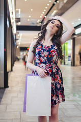 portrait of the beautiful young woman with shopping bags