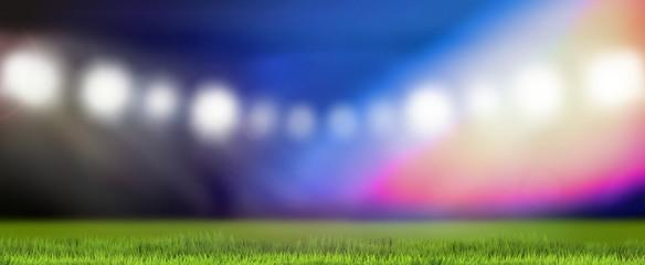 sports field flood lights blurred background 3d rendering