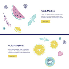 Vector banner with fruits, berries and text.