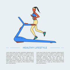 Running line design concept with woman. Healthy lifestyle.