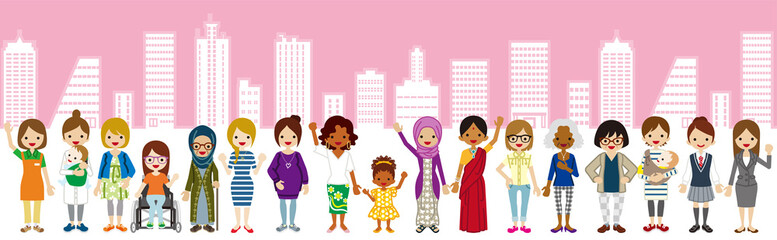 Standing Various women,Cityscape background - Women's Rights concept