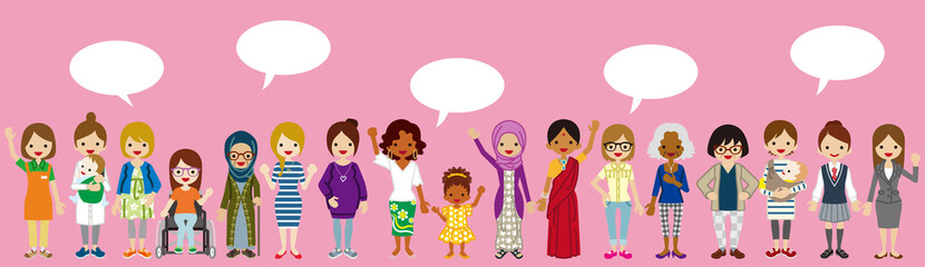 Standing Various women with Speech bubbles - Women's Rights concept