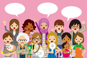 Female Protesters ,Pink background- Women's Rights concept