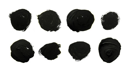 Set of black circles. Abstract gouache brush strokes