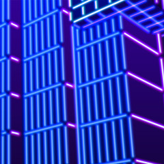 Neon background with ultraviolet 80s grid landscape