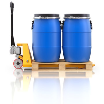 Pallet jack with wooden pallet and plastic barrels