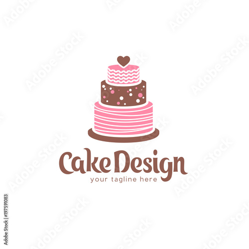 vector logo design template for cake stock image and royalty free