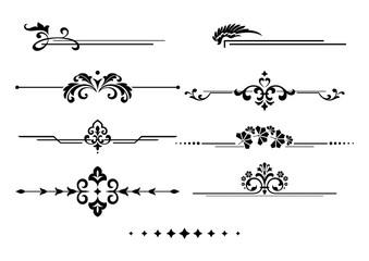 Vintage set of decorative elements. Black  separators on a white