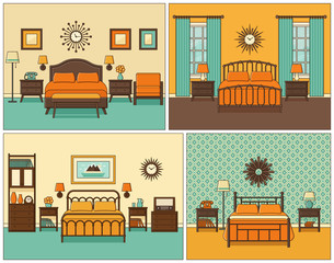 Bedroom interior. Hotel room with bed. Vector. Linear illustration. Retro house furniture in line art flat design. Home space sketch. Set vintage background. Outline contour apartment 1950s - 1960s.