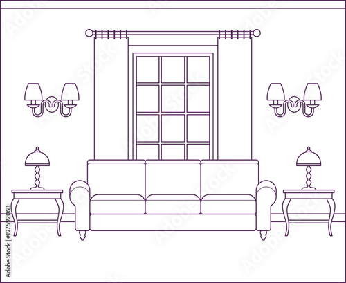 Room Interior. Vector Living Room. Home Flat Design With Furniture, Window.  Outline