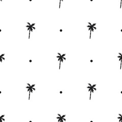 Seamless pattern with icons of palm trees isolated on white background