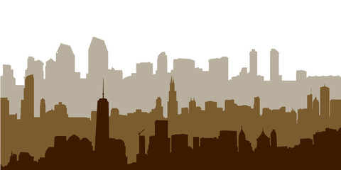 Morning City Skyline Vector Illustration