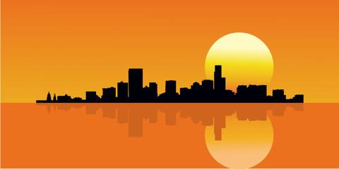 Sunset City Skyline Building Vector Illustration. Reflection Skyline