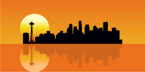 Sunset City Skyline Building Vector Illustration. Reflection Skyline