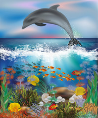 Tropical underwater background with Dolphin and pearls , vector illustration