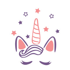 Vector illustration of a magic cute pink unicorn with stars