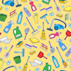 Seamless pattern on the theme of cleaning and household equipment and cleaning products,color patch icons on  yellow background