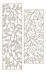 Set of contour illustrations of stained glass Windows with tree branches, Rowan and Apple tree branch, dark contours on white background