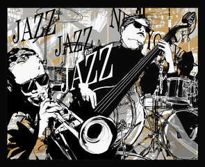 Poster Art Studio Jazz band on a grunge background