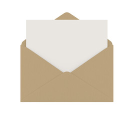 Envelope with Blank Paper Isolated
