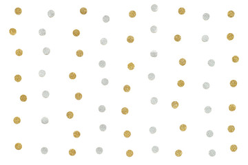 Gold and silver glitter dot paper on white background - isolated