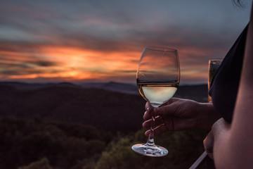 Wein im Sonnenuntergang