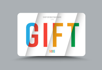 Template of a gift card of white color with multi-colored text at different levels of height on soaring sheets.
