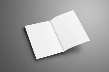 Elegant blank A4, (A5) catalog with soft realistic shadows isolated on gray background.