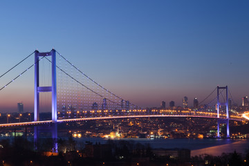 Foto op Plexiglas Panoramafoto s Istanbul Bosphorus Bridge at night
