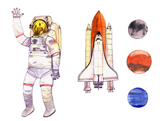 watercolor set space illustration with  astronaut, rocket and planet isolated on white background
