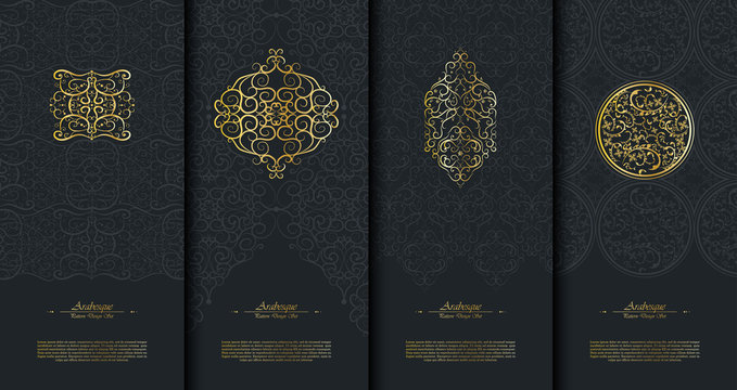 Pattern islamic element classy arabesque background template collection vector