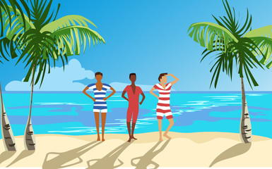 men on the beach in swimsuits