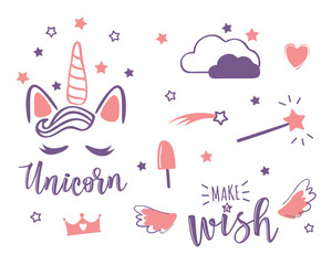 Vector illustration of a magic cute set with unicorn and stars