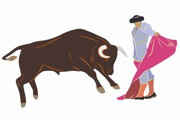 illustration of matador and bull , vector draw