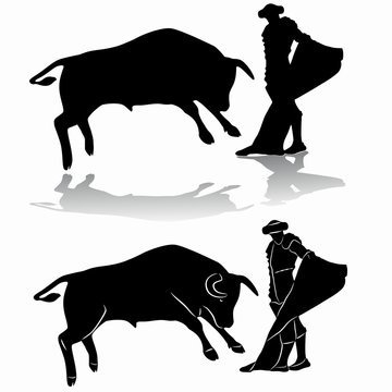silhouette of matador and bull , vector draw