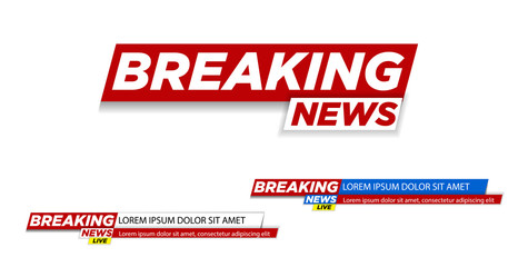 Breaking news. Breaking news live on world map background. Vector illustration.