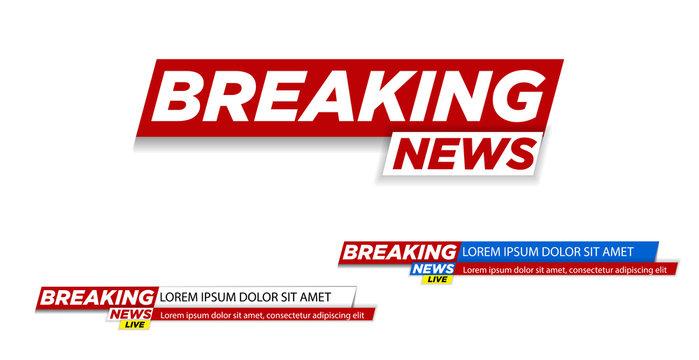 Breaking news. Breaking news live on world map background. Vector illustration.