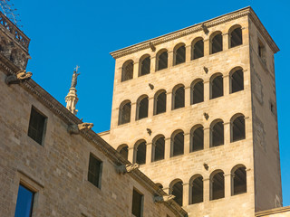 King's Martin Watchtower in King Square. Gothic Quarter in Barcelona, Catalonia, Spain