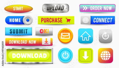 Collection of Web Buttons, Elements Set  Vector Templates