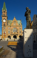 Town hall with a statue of a famous military commander Albrech Valdstein, town of Frydlant, Bohemia