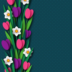Paper cut spring flowers tulip and narcissus. Template for greeting card, holiday background. Papercraft style. Vector illustration.