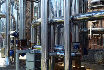 shiny stainless steel pipes, tanks for the food industry