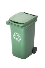 Green recycle rubbish or garbage bin with the recycle symbol on a white background.
