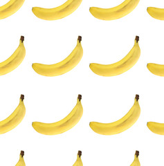 Banana. Seamless pattern. Isolated on white background