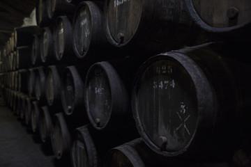 Old wine barrels in the cellar.