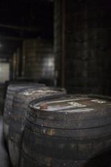 Close-up shot of old wine barrel.