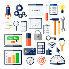 Big startup icons collection. Business clipart. Technology elements set
