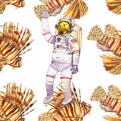 watercolor space illustration with astronaut and fish seamless pattern isolated on white background