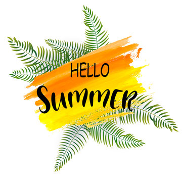 Watercolor orange Summer background with exotic palm leaves